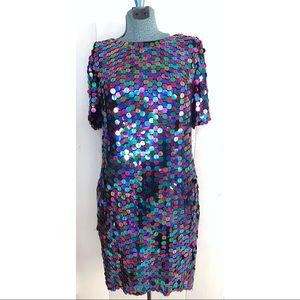 Vintage Sequin Fabulous Vibrant Silk Dress